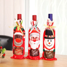 10 Pcs/ Lot Christmas Xmas Wine Bottle Cover Bag Hat Decorative Bottle Caps Clothes Santa Claus Snowman Elk Christmas for 2018 цена в Москве и Питере