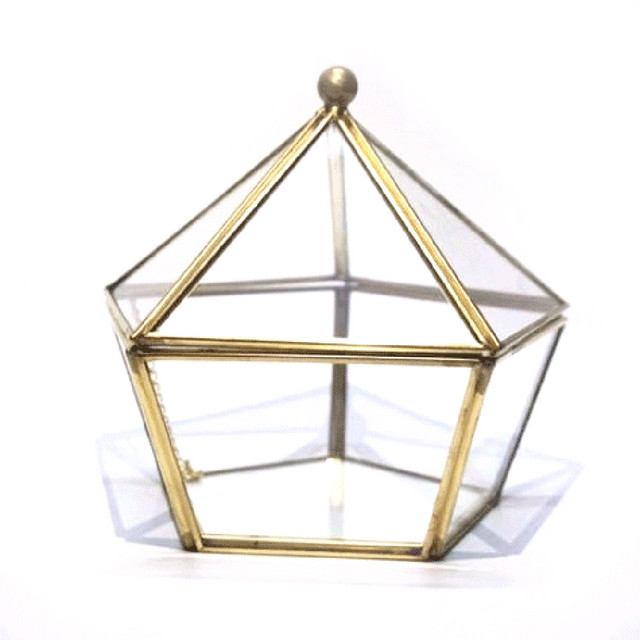 Caja de anillo de cristal caja de la joyería de la boda caja de cristal de la flor
