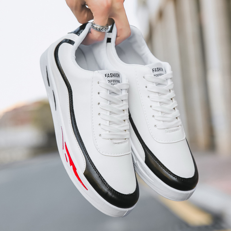 Black Hombre De Lace Up red Chaussures white Plat Confortable Pour En Printemps Cuir 2019 Casual Mode Hommes Zapatillas Fooraabo ZwaRASZ