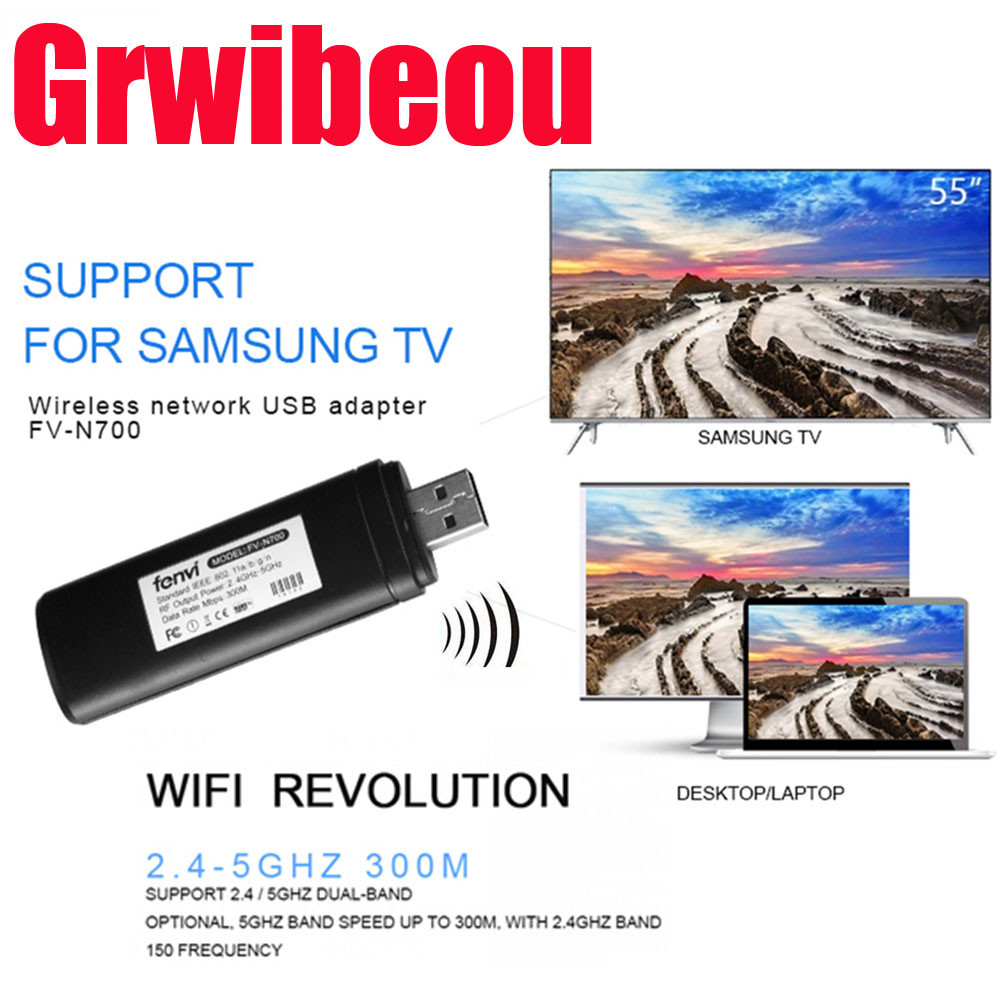 For Samsung Smart TV WIS12ABGNX WIS09ABGN Network Card WiFi Dongle Adapter 5G 300Mbps Wireless WLAN LAN USB Video TV Adapter