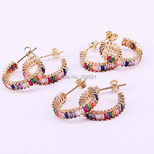 5Pairs Popular brass gold color Rainbow cz zircon Jewelry stud earring high quality for women girls(China)