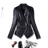 Кожаная куртка короткая тонкая женская овечья кожа Маленькая кожаная одежда рубашка модный черный большой размер 2018 Новый