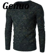 Mens Sweater Genuo 2018 Thick Pullover Fall Sweater Male O-Neck Color Dot Slim Fit Knitting Mens Sweaters Man Pullover Clothing