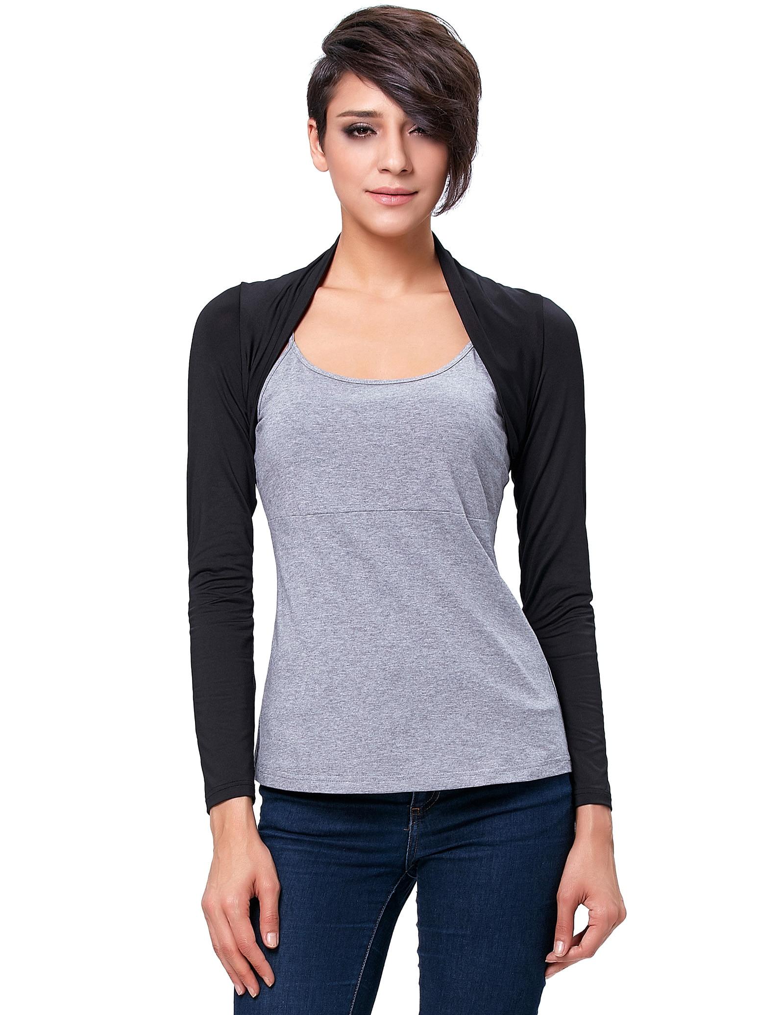 Women's Short Jacket Long Sleeve Comfortable Modal Bolero Shrug Lightweight Soft High Stretchy Summer Women Coat