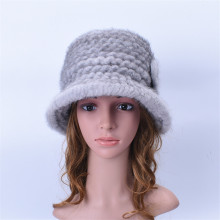 winter real mink fur hats ladies hats brim hat white hat fedora woman vintage womens knitted warm fur caps H218