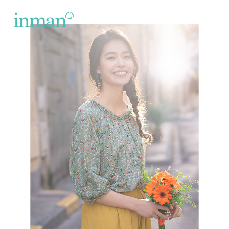 INMAN 2019 Summer New Arrival O-neck Literary Retro Literary Holiday Style Casual Slim Half Sleeves Women Foral Blouse Top Shirt