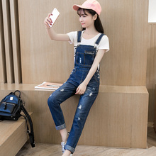 Women Denim Jumpsuit 2019 Spring Summer Ladies Washed Jeans Rompers Casual Ripped Hole Denim Overalls Jumpsuits rolling hem ripped design denim suspender jumpsuit
