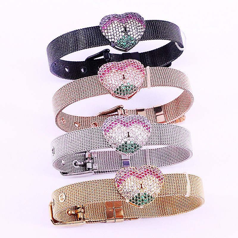 New Arrival 5Pcs Mix Color CZ Zirconia Micro Pave Heart Space Bead Adjustable Stainless Steel Watch