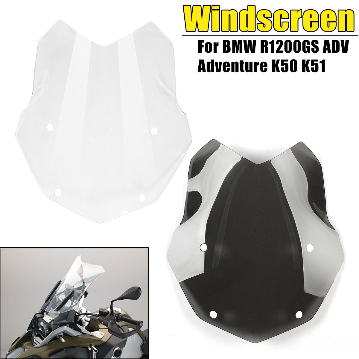 Black Clear PMMA Motorcycle Windshield Windscreen Protector For BMW R1200GS ADV Adventure K50 K51 Motorcycle Parts
