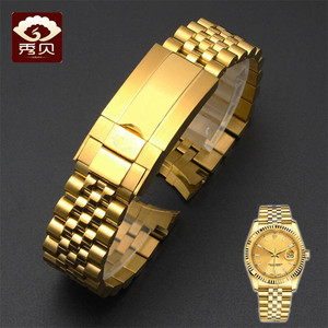 Image 4 - New High quality Stainless Steel Watchband Gold Silver Bracelet with Oyster Buckle 20mm for RX Perpetual Day Date Datejust Watch
