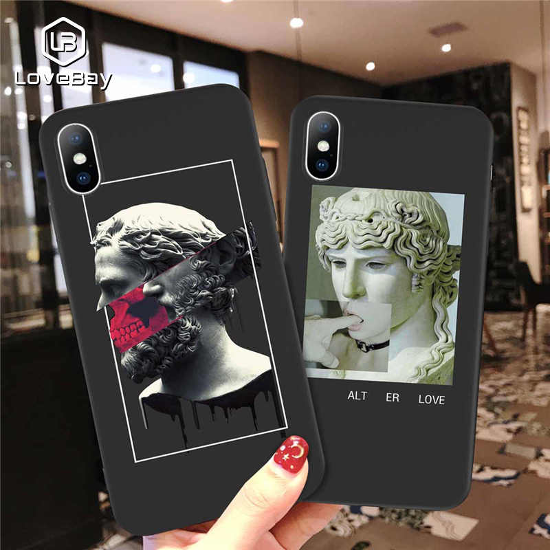 Lovebay For iPhone 6 6s 7 8 Plus X XR XS Max 5 5s SE Phone Case Fashion Abstract Art Statue Soft TPU Phone Case For iPhone X XS
