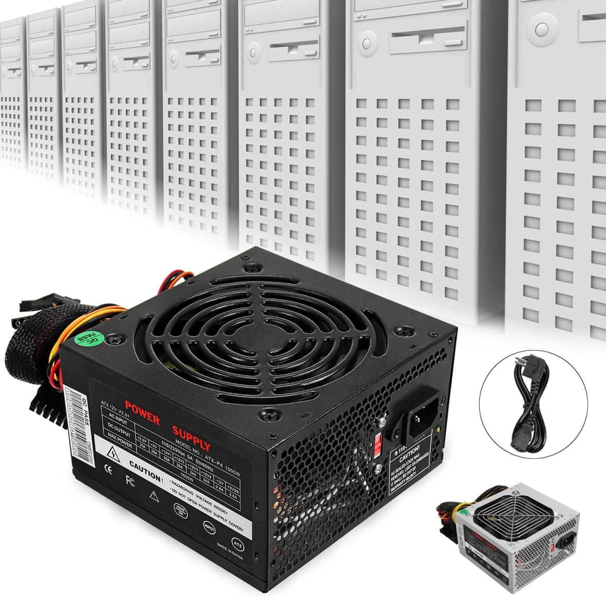 Max 1000 W alimentation PSU PFC ventilateur silencieux ATX 24pin 12 V PC ordinateur SATA Gaming PC alimentation pour Intel AMD ordinateur noir - 6