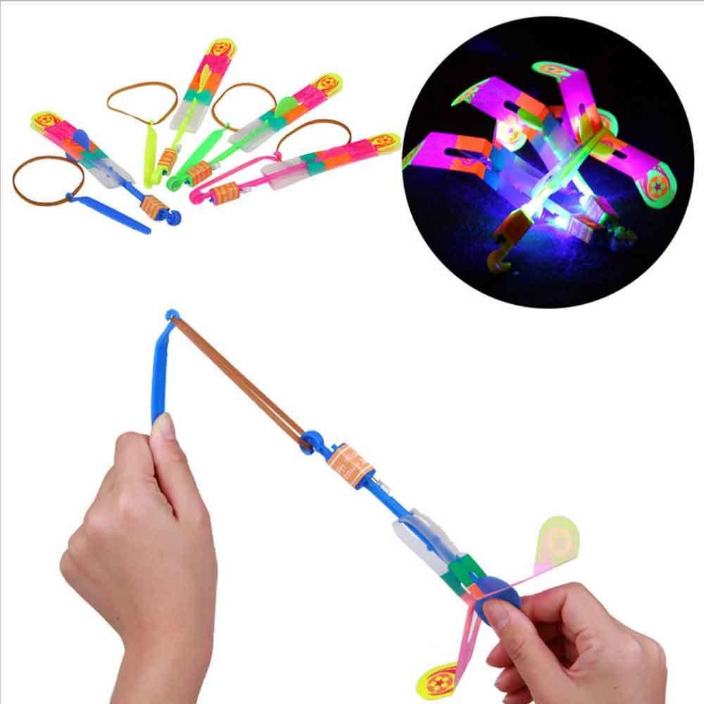 5 Pcs Led Lighting Up Luminous Toy Flying Slingshot Flying Toys Toys Xmas Decor Light Quickly Fast Catapult
