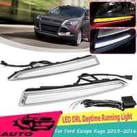 1Pair 12v Car Drl For Ford Escape Kuga 2013 2014 2015 2016 Yellow White Turn Signal Daytime Running Light Front Driving Fog Lamp