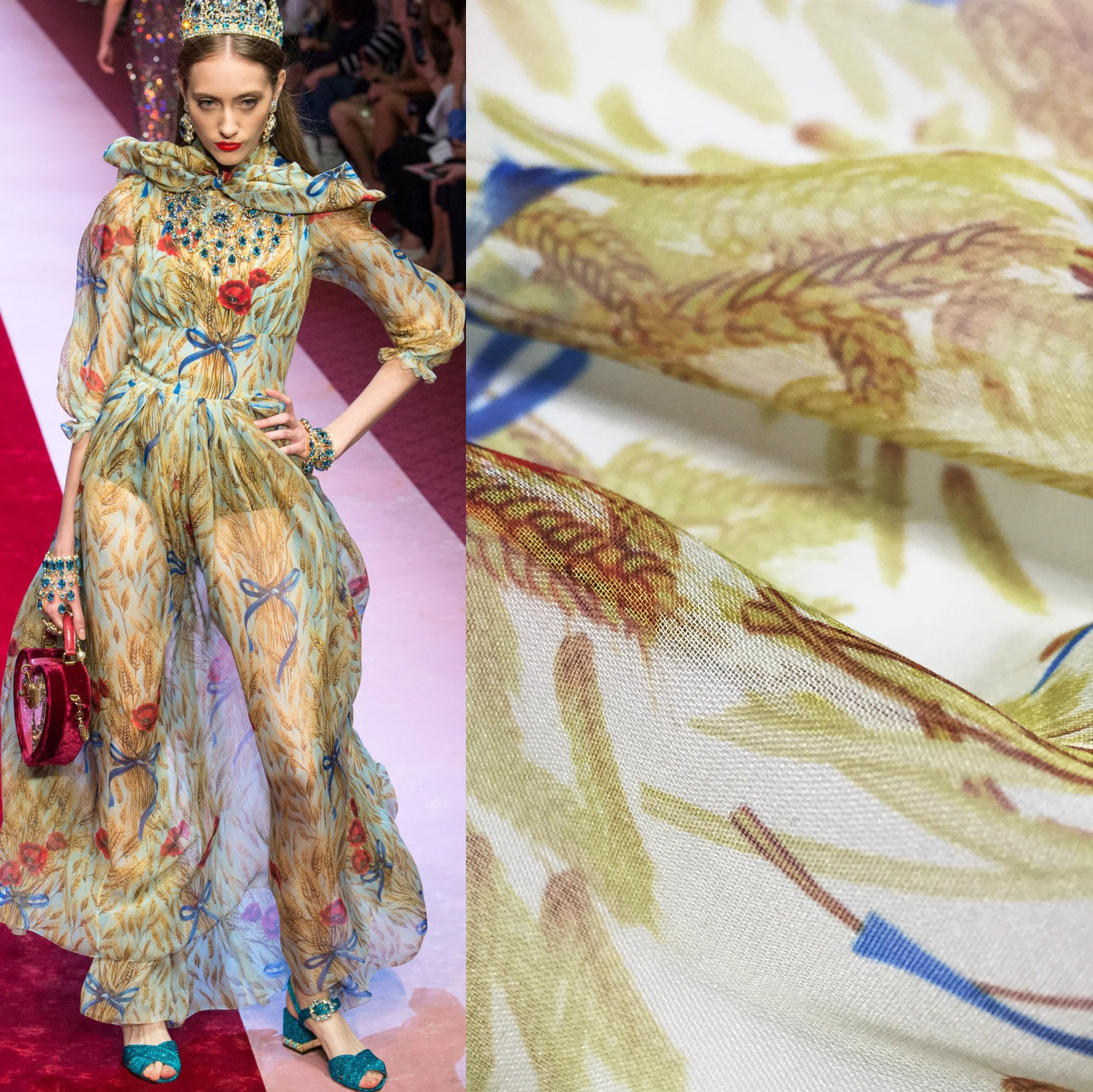 Spring and summer new catwalk models hand painted straw printing chiffon fabric polyester printing clothing fabrics