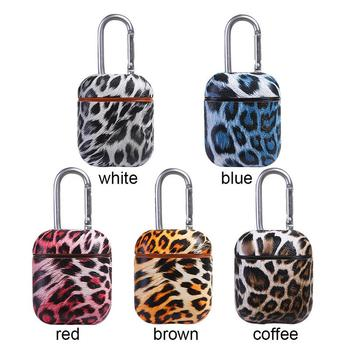 For Airpods Headphone Case Wireless Bluetooth Leather Earphone Protective Case Cover with Hook Leopard Leather
