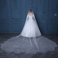 Simulated Pearls Bridal Veils Fabric Petal Flower Wedding One Layer Veil Cathedral Ivory Long Cathedral Veils Handmade