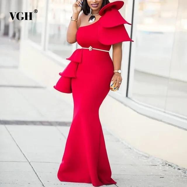 VGH Women's Dress Solid Ruffle Strapless Short Sleeve Sashes High Waist Slim Summer Floor-Length Dresses Female Fashion New 2019