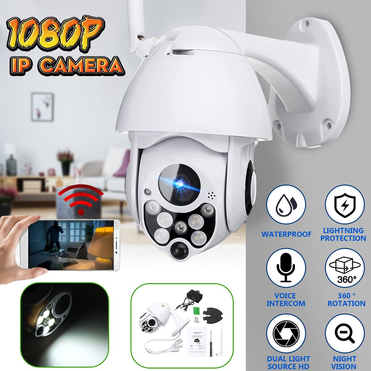 HD 1080P 2MP WiFi IP Camera Cloud Wireless Security Video CCTV Camera for Home Outdoor Remote IR MonitorHD 1080P 2MP WiFi IP Camera Cloud Wireless Security Video CCTV Camera for Home Outdoor Remote IR Monitor