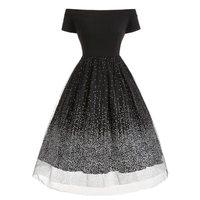 Vintage Polka Dot Dresses Women 1950s Classic Retro Party Black A Line Summer Gothic Evening Patchwork Mesh Elegant Sexy Dress