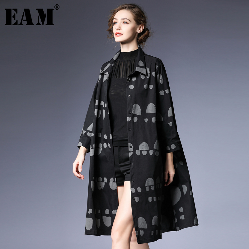 EAM 2019 New Spring Summer Lapel Long Sleeve Black Dot Printed Loose Long Thin Windbreaker