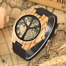 0318ae95c898 Regalos de los amantes de la vida árbol de madera de diseño de reloj  hombres reloj hombre moda rojo puntero negro de cuero genui.
