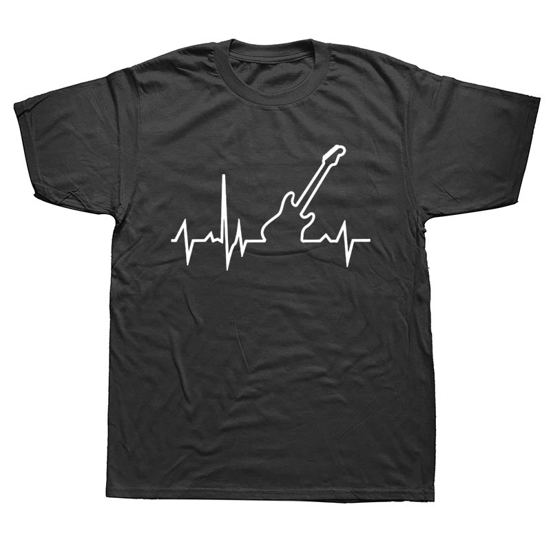 Bass Guitar Heartbeat Music Fashion Summer T Shirt Men Printed Custom Short Sleeve Valentine Gift T-shirts Unisex