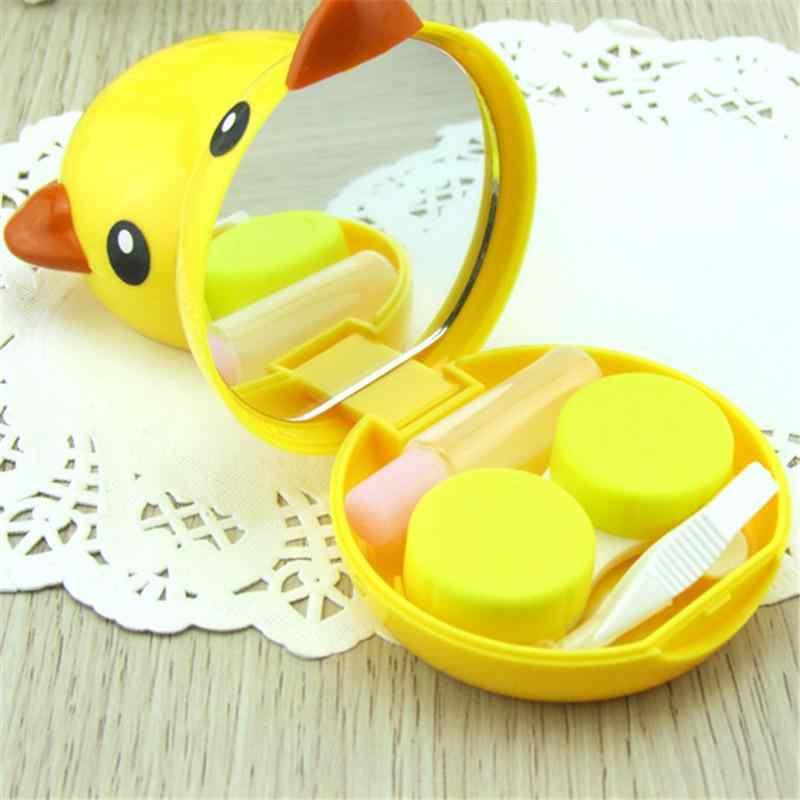 Kuning Bebek Bentuk Tak Terlihat Kacamata Case Kecantikan Cantik Portabel Mini Kotak Penyimpanan Kosmetik untuk Tak Terlihat Kacamata Hadiah Terbaik