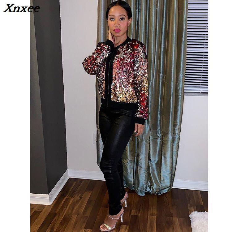 98c650bafd US $19.99 |Aliexpress.com : Buy sparkly iridescent sequin glitter jaqueta  feminina coat women Autumn Winter harajuku jackets clothes ladies coats ...