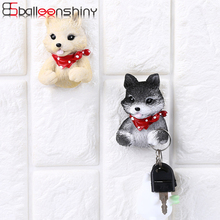 BalleenShiny Resin Lovely Puppy Outlet Plug Storage Hook Wall Strong Adhesive Decorative Hanger for USB Cable Brush Keys Gifts