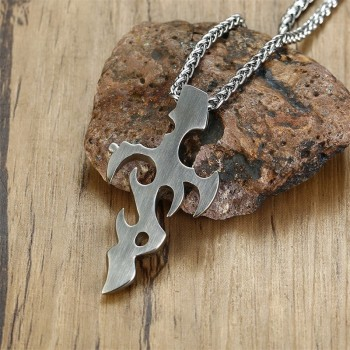Mens Vintage Tribal Fire Cross Pendant Charm Stainless Steel Punk Necklace Men Jewelry with 24 inch 6