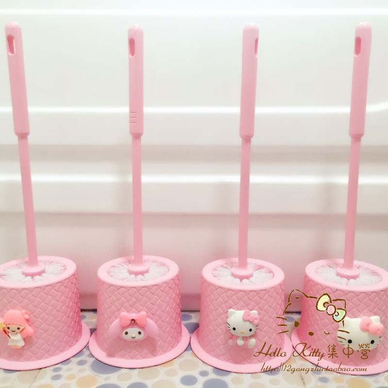 Hello Kitty Soft Toilet Bowl Brushes Cleaning Brush Creative Decorative Bathroom Fittings Set Holder Wc Washroom Accessories