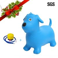 Children horse riding toy Blue dog ride on toys Animal Space Hopper Inflatable Jumping Horse Ride On Bouncy Play for 2 6 years