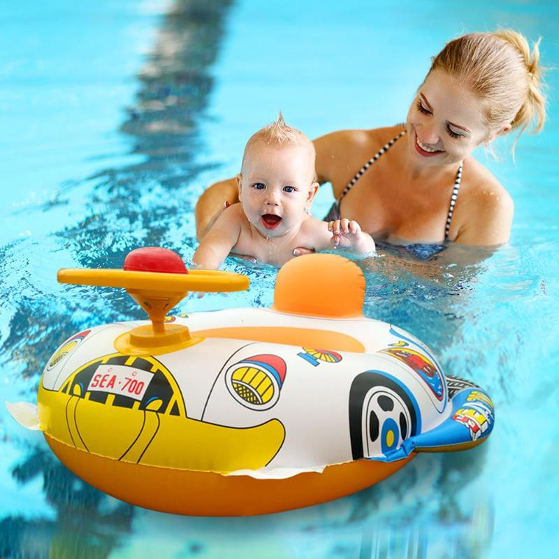 Safety Infant Swimming Ring Baby Pool Seat Toddler Float Water Ring Aid Trainer Children Bathing Inflatable Water Drink Cup