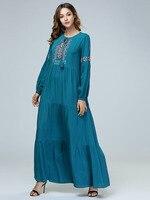 INS Middle East Muslim Embroidered Maxi Long Dress Female Islamic Arab Clothing Loose Style Ramadan Kaftan Abaya Dubai Fashion