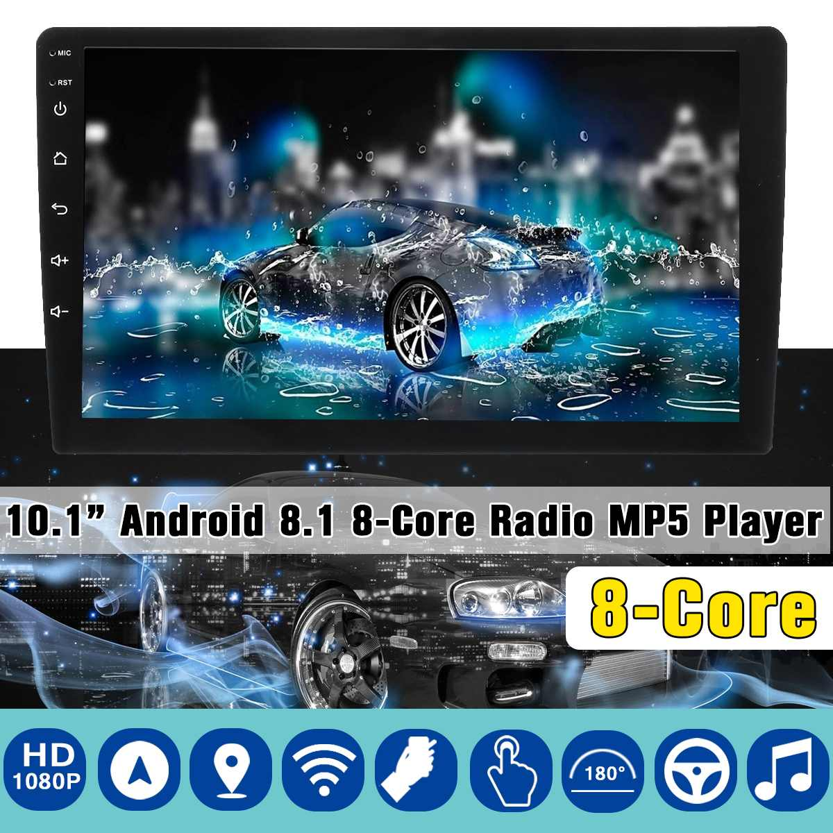 Car Multimedia Player 10.1 2G+32G for Android 8 Car Stereo 8 DIN bluetooth WIFI GPS Nav Quad Core Radio Video MP5 UniversalCar Multimedia Player 10.1 2G+32G for Android 8 Car Stereo 8 DIN bluetooth WIFI GPS Nav Quad Core Radio Video MP5 Universal
