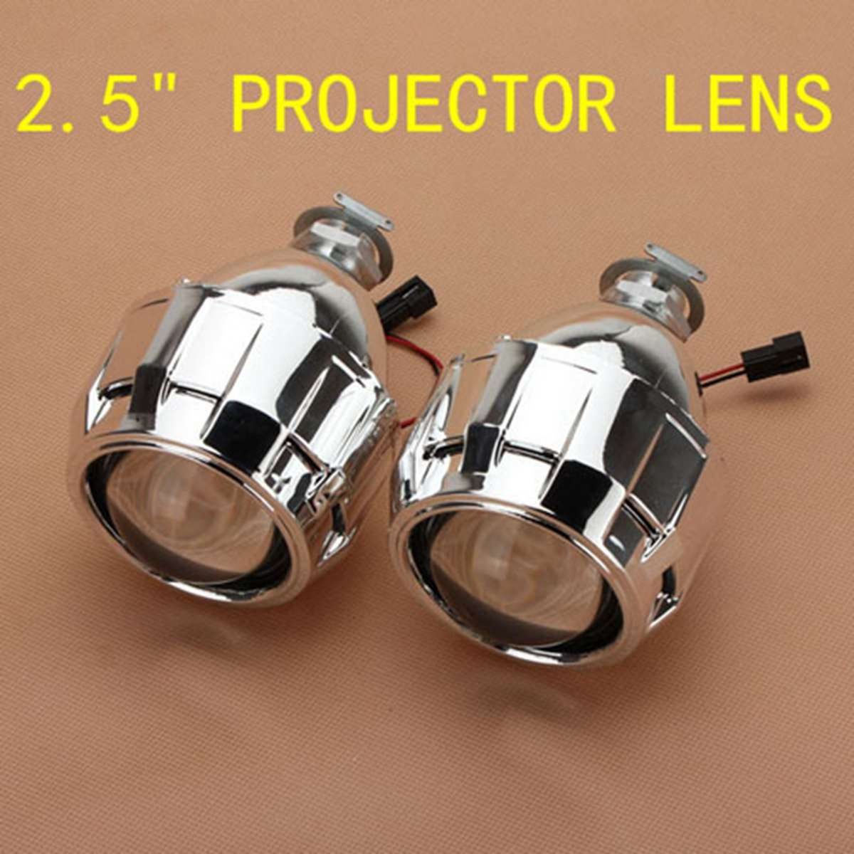 LHD 2.5 inch Car Mini Bi-Xenon for HID Projector Kit Lens Car Hi/Lo Headlights Shroud H1 retrofit headlights cover 2 5for h1 mini projector lens silver gatling gun shroud [qp379]