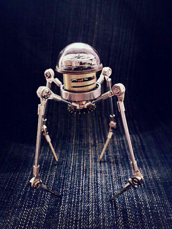Creative Steampunk Metal Big Head Robot DIY Assembly Model Kit Toy Hobby Tools New Gift Free Shipping