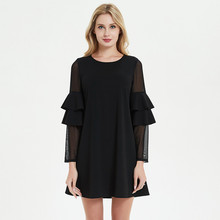 Uguest Women Black Dress Lace Ruffles Long Sleeve Sexy Lady Mini Summer Beach Elegant Wear
