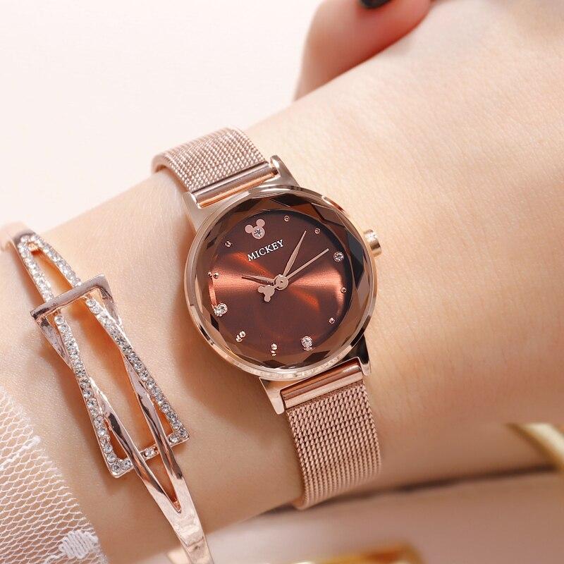 Disney femmes dame montres horloge Mickey Mouse véritable marque Quartz acier inoxydable mode luxe montres diamant étanche