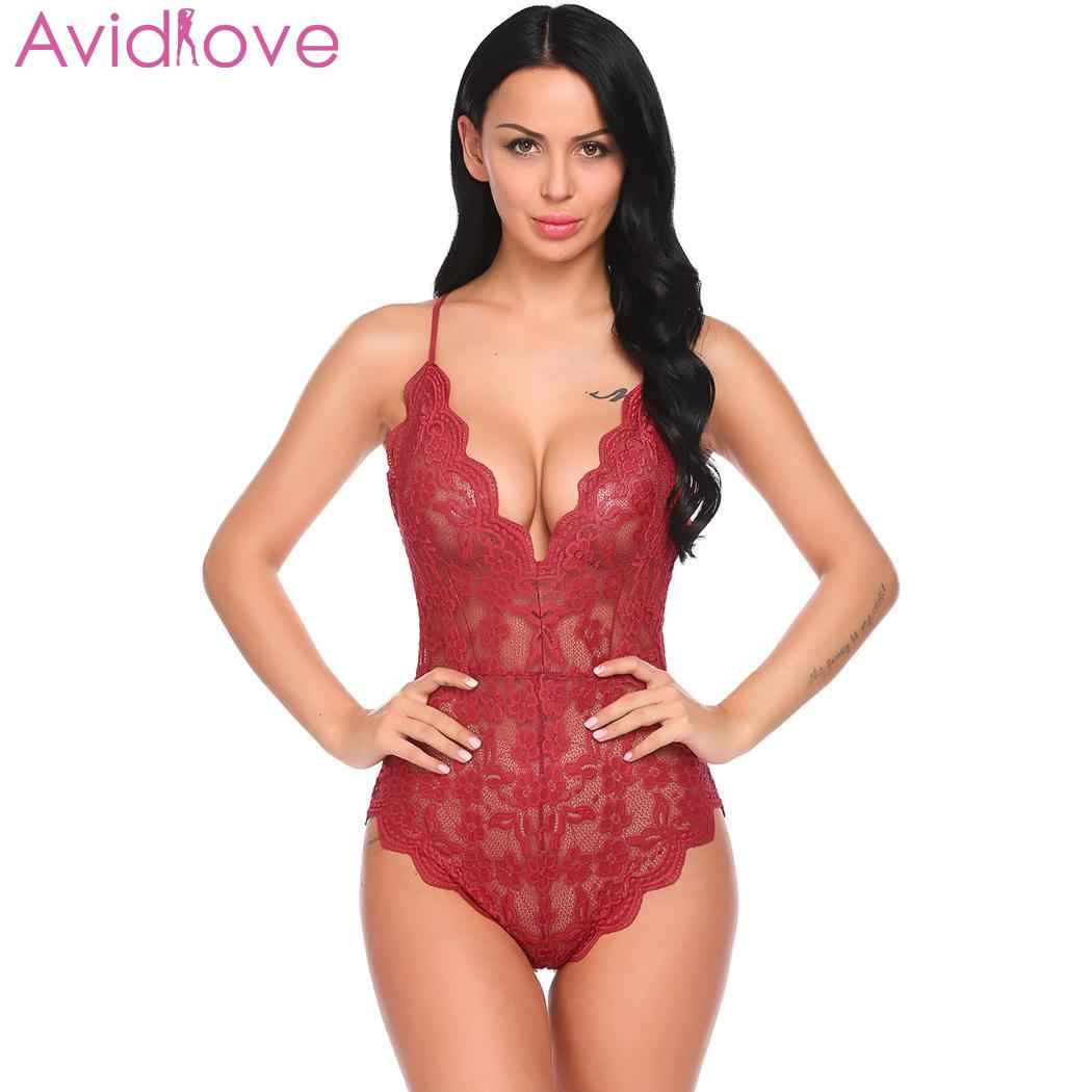 9f2f41fa684 Avidlove Sexy Lingerie Women Plus Size Sex Clothes V-Neck Backless Floral  Lace One Piece