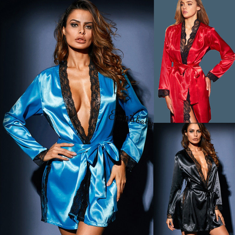 Style Sexy Women Silk Robe Solid Long Sleeve Patchwork Nightdress Nightgown Sleepwear