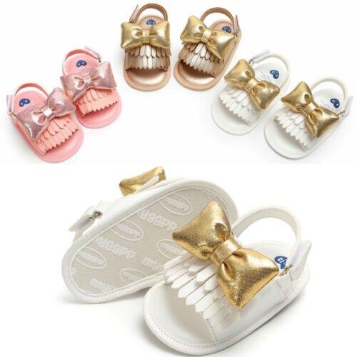 Newborn Baby Girls Sandals Toddler Princess Bow-Knot Sandals Summer Infant Baby Canvas Moccasin Shoes Prewalker 0-18M