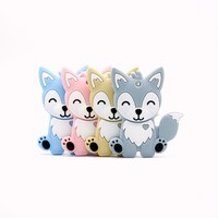 Mixed Color 10PCs Animal Pattern BPA Free Baby Teether Food Grade Silicone Nursing Chew Charms Tooth Toys DIY Nipple Chain