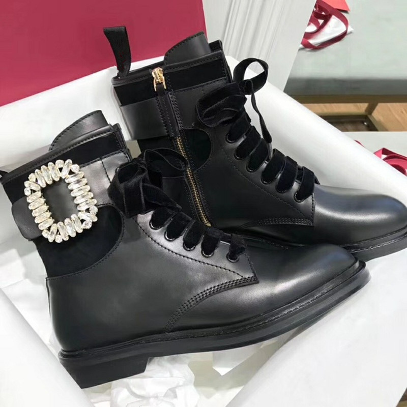 Bling Crystal Ankle Buckle Lace Up Botas Mujer Round Toe Women Boots Med Heeled Black Genuine Leather Shoes For WomensBling Crystal Ankle Buckle Lace Up Botas Mujer Round Toe Women Boots Med Heeled Black Genuine Leather Shoes For Womens