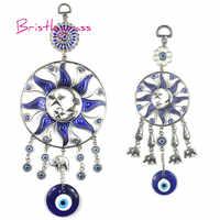 BRISTLEGRASS Turkish Blue Evil Eye Sun Moon Star Elephant Disk Amulet Lucky Charm Wall Hanging Pendant Blessing Protection Decor