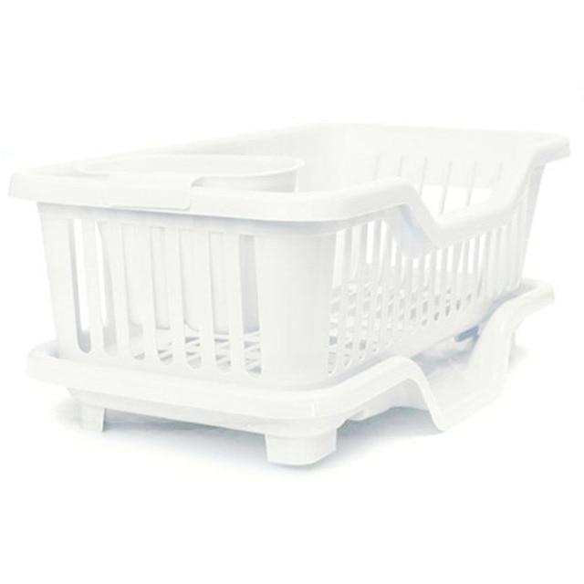 9a14a2c97259 Kitchen Sink Dish Plate Utensil Drainer Drying Rack Holder Basket Organizer  Tray White