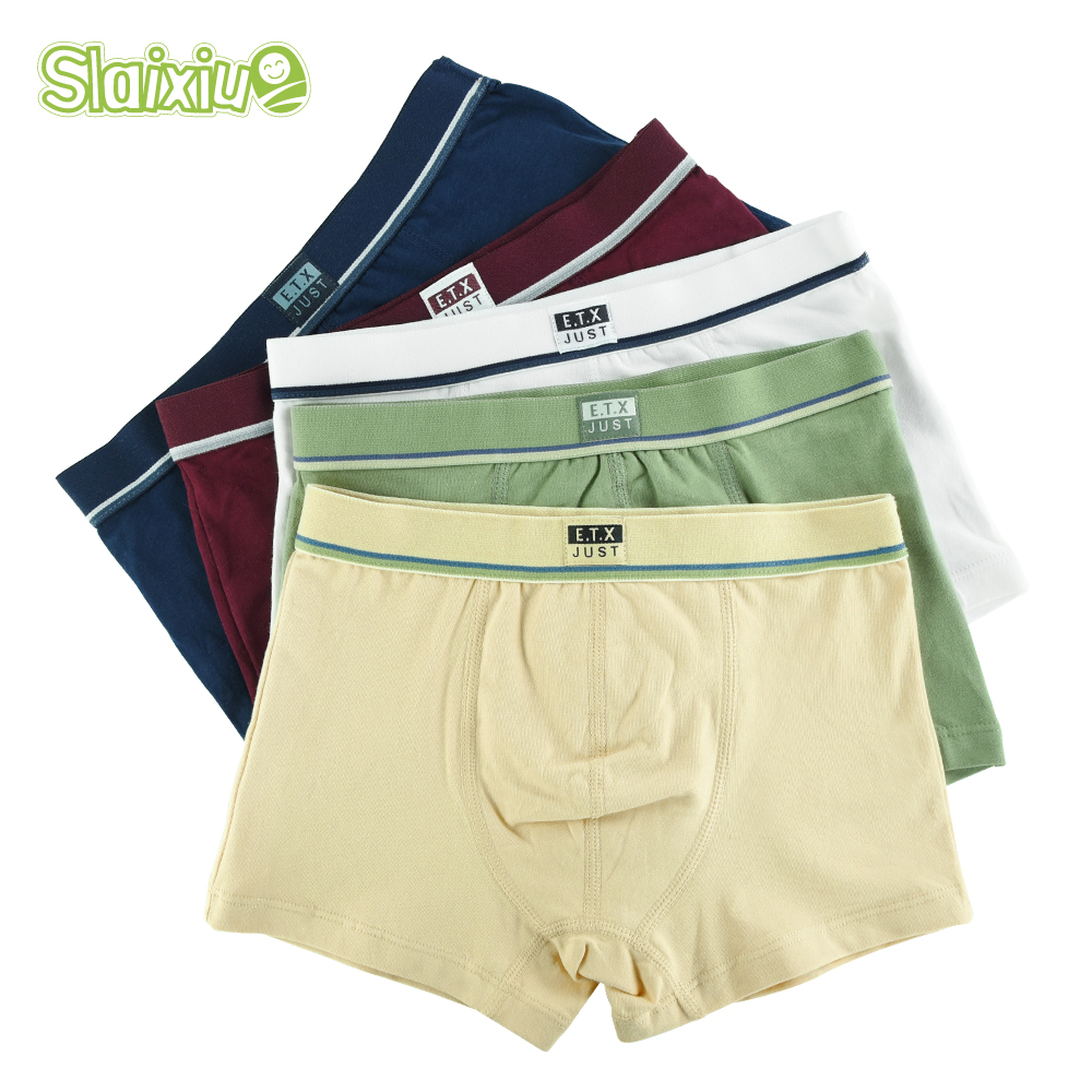 5 Pcs/lot Soft Cotton Kids Underwear Comfortable Pure Color Baby Boys Boxer Shorts Panties Children's Teenager Underwear 2-16y