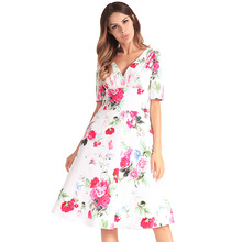 c95c4a4df1 2019 Spring And Autumn Explosion Models Women Printed Dress Cross-Border  Amazon Short Sleeve V