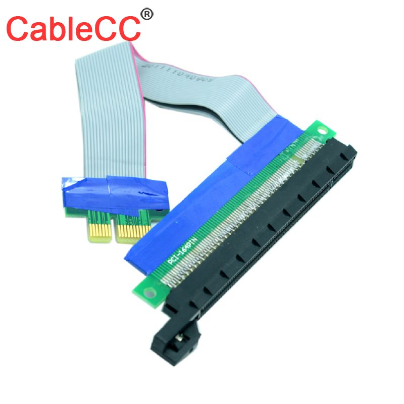 CY Cable 1Pcs/Lot 20cm PCI-E Riser 1X To 16X Extension Cable PCI Express Flexible Riser Card Adapter Converter Extend Cables